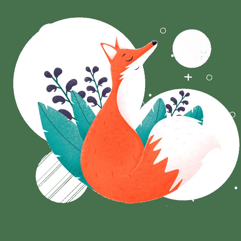 Illustrasjon av en rød rev