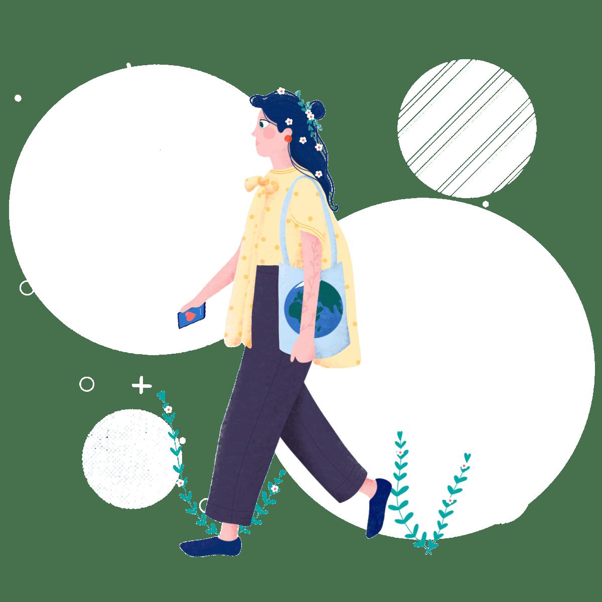 Illustrasjon av en kvinne som går